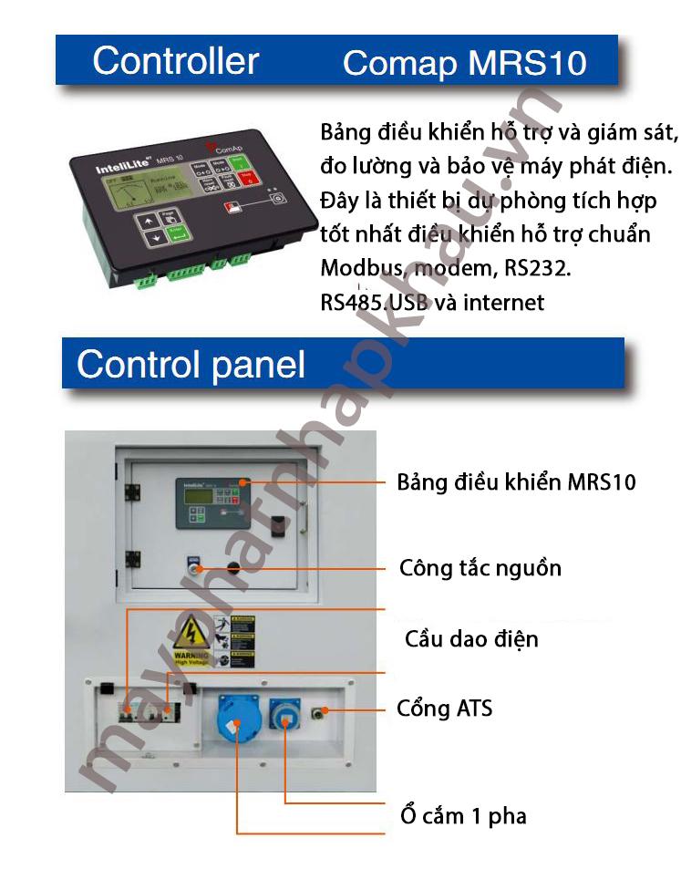 Bảng điều khiển của máy phát điện 8kw chạy dầu diesel 1 pha DHY9KEm