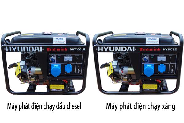 so sánh máy phát điện chạy xăng và dầu