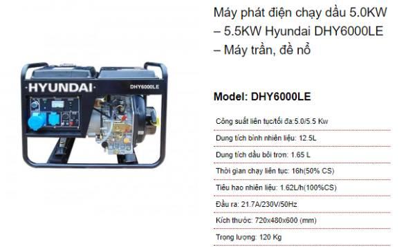 Thông số ví dụ của máy phát điện Hyundai DHY600LE